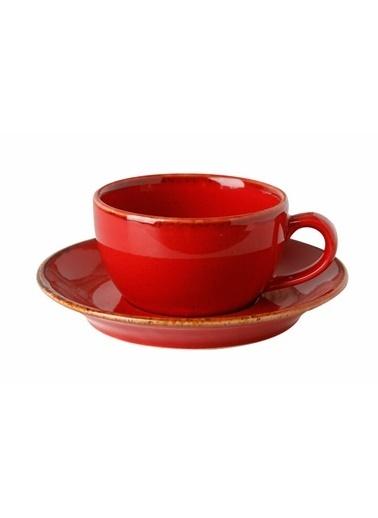Porland Seasons Kırmızı Tabaklı Çay Fincan 207 Cc Renkli